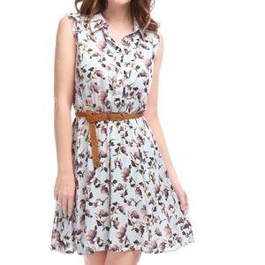 Dresses & Skirts - Floral Belted Sleeveless Dress